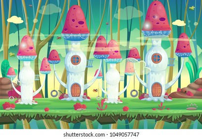 Background for games and mobile applications. Forest with mushroom houses. Vector illustration.