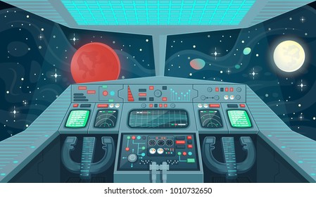 Background for games and mobile applications spaceship. Spaceship interior, cockpit view inside. Cartoon vector illustration.