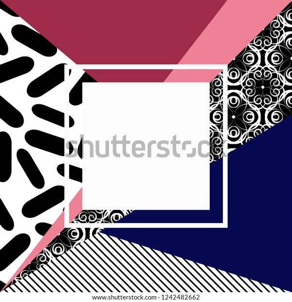 Background Geometric Shapes Design 80s Vector Stock Vector