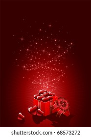 Background with gift box and red Hearts, illustration