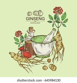Background with ginseng: ginseng root, plant, bottle, tincture, mortar and pestle. Medical plant. hand drawn