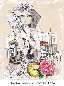 Background with a girl, flowers, the Eiffel tower, a cup of coffee, roses and a street cafe.  Hand drawn vector illustration.