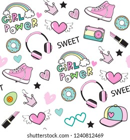 background for girls with sneakers, rainbow, headphones and the inscription girl power seamless pattern on a white background