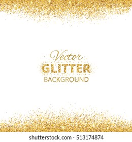 Background with glitter golden frame and space for text. Vector glitter decoration, golden dust. Great for christmas and birthday cards, wedding invitation, party posters and flyers.