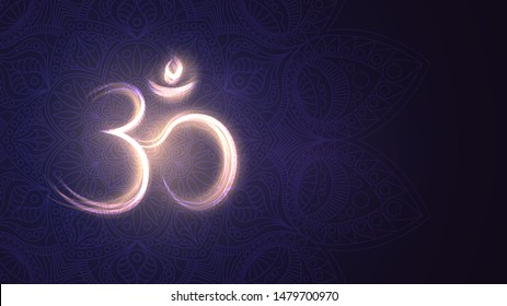 Background with glowing sign Om, Hinduism, Buddhism, mantra