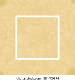 Background with gold color flowers, white frame. For greeting, cards to Womens Day, wallpaper