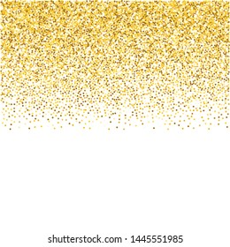 Background with gold glitter confetti. Faling gold dust. Glitter border. Background for invitations, posters, christmas, new year and birthday cards. Vector Illustration.