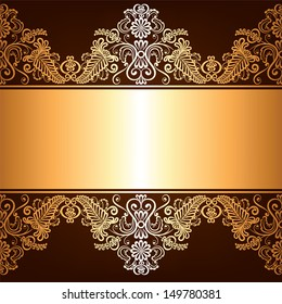 Background with gold jewelry frame