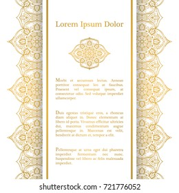 Background with gold ornament mandala, based on indian and islamic ornaments. For wedding invitation, book cover or flyer