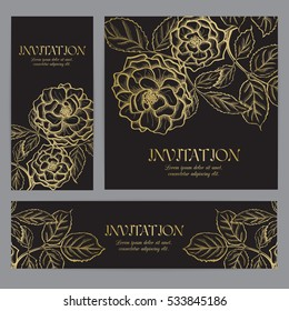 Background with gold rose graphic flowers. For wedding invitation, book cover or flyer