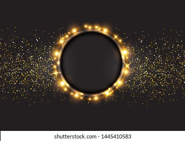 Background with gold spangles .Shining circle light banner.Golden frame vector.