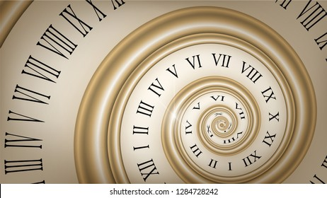 Background with gold spiral dial, clock. Time, eternity metaphor