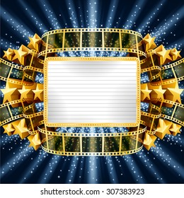 Background with golden banner and film strip, and with shooting stars. EPS 10 contains transparency.
