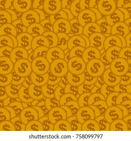 background with golden coins. Vector illustration.