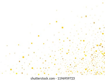 Background with Golden glitter, confetti. Gold polka dots, circles, round. Typographic design. Bright festive, festival pattern for party invites, wedding, cards, phone Wallpapers. Vector illustration