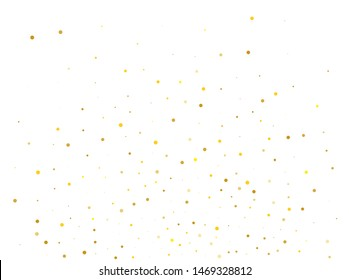Background with Golden glitter, confetti. Gold polka dots, circles, round.  Bright festival pattern for party invites, wedding, cards, phone Wallpapers. Vector illustration