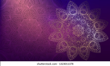 Background with golden mandalas, round indian pattern, muslim pattern