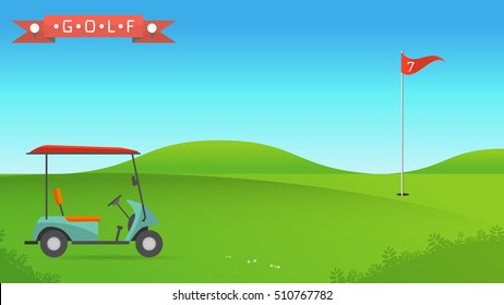 Background of golf field beautiful landscape,Golf hole banner vector green tree background illustration with golf cart flag and trees