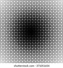 Background with gradient of monochrome circles grid