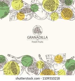 Background with granadilla: fruit, granadilla slice and leaves. Vector hand drawn illustration.
