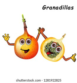 Background with granadillas.  tropical fruits.