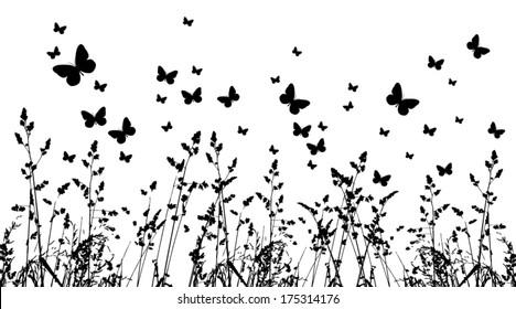 background grass and butterflies. Vector