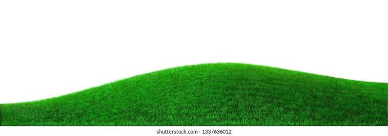 Background green hills vector. Realistic eco natural landscape. Lawn grass and plants