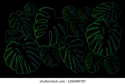 Background of green silhouettes of monstera leaves. Jungle at night. The effect of neon glow.