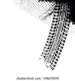 Background with grunge black tire track , vector illustration