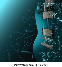 Background with guitar, ornaments and space for text.
