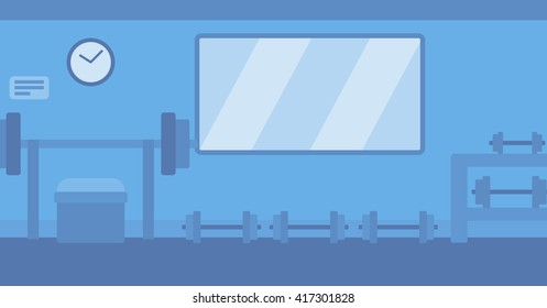 Background of gym with equipment.