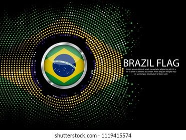 Background Halftone gradient template or LED neon Light on round Dots style of brazil flag.  Modern soccer cup for futuristic background with circle metallic round of brazil flag. Vector.