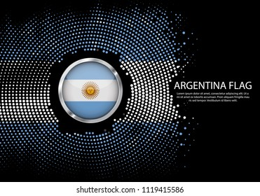 Background Halftone gradient template or LED neon Light on round Dots style of Argentina flag.  Modern soccer cup for futuristic background with circle metallic round of Argentina flag. Vector.