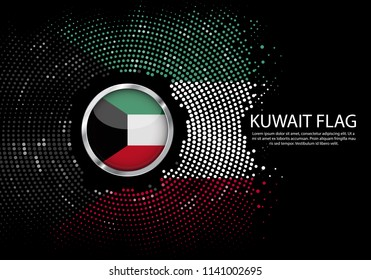 Background Halftone gradient template or LED neon Light on round Dots style of Kuwait flag.  Modern soccer cup for futuristic background with circle metallic round of Kuwait flag. Vector.