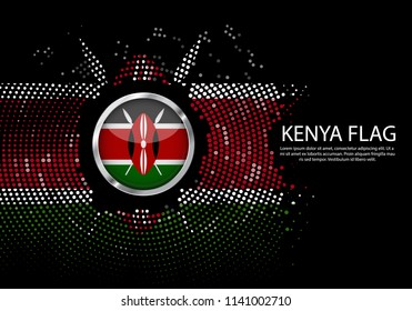 Background Halftone gradient template or LED neon Light on round Dots style of Kenya flag.  Modern soccer cup for futuristic background with circle metallic round of Kenya flag. Vector.