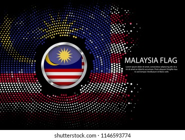 Background Halftone gradient template or LED neon Light on round Dots style of Malaysia flag.  Modern soccer cup for futuristic background with circle metallic round of Malaysia flag. Vector.