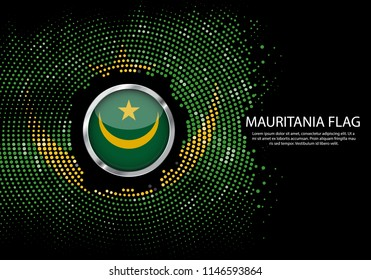 Background Halftone gradient template or LED neon Light on round Dots style of Mauritania flag.  Modern soccer cup for futuristic background with circle metallic round of Mauritania flag. Vector.