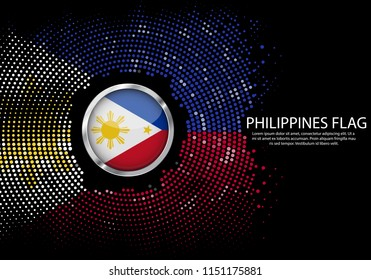 Background Halftone gradient template or LED neon Light on round Dots style of Philippines flag.  Modern soccer cup for futuristic background with circle metallic round of Philippines flag. Vector.