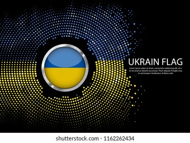 Background Halftone gradient template or LED neon Light on round Dots style of Ukraine flag.  Modern soccer cup for futuristic background with circle metallic round of Ukraine flag. Vector.