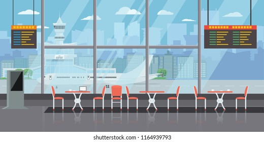 Background of hall at airport with empty coffee tables and chairs. Solid and Flat color style design vector illustration.