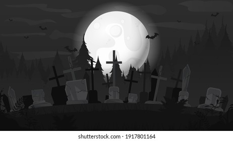 Background for Halloween. Background with the big moon and cemetery, vector.