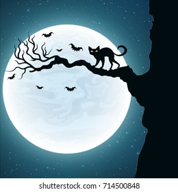 Background for Halloween. Black cat on the tree. Bats fly against the background of the full moon. Vector illustration