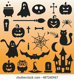 background with Halloween black icons