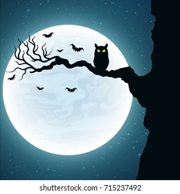 Background for Halloween. Black owl on the tree. Bats fly against the background of the full moon. Vector illustration