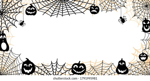 background for halloween with place for text in the center. black vector backdrop isolated on white background. pumpkin lanterns and spider webs around the edges of illustration