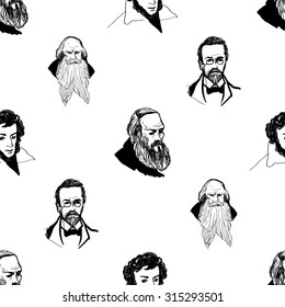 Background with hand drawing inky portraits of the great Russian writers: Chekhov, Dostoevsky, Pushkin, Tolstoy. Vector seamless pattern. Ornament with a literary motif.