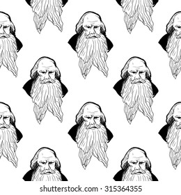 Background with hand drawing inky portraits of the great Russian writers: Tolstoy. Vector seamless pattern. Ornament with a literary motif.