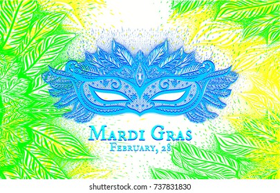 Background with hand drawn carnival mask and feathers. Mardi Gras. Vector isolated illustration. Design of poster, invitation card for night party, festival, disco.