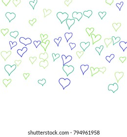 Background with hand drawn hearts. Cute simple pattern with falling hearts for Valentine cards, posters, banners. Vector holiday background. Romantic love motif. Falling confetti.