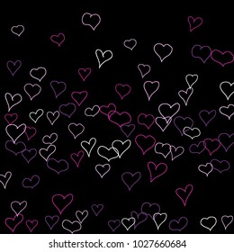 Background with hand drawn hearts. Lovely simple pattern with falling hearts for cards, posters, banners, Valentine decoration. Vector holiday background. Romantic love motif. Falling confetti.